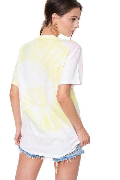 WORLD TOUR EAGLE GRAPHIC TIE DYE  TEE - YELLOW