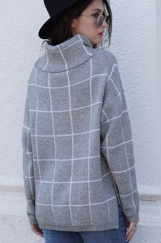 PLAID SWEATER - GREY