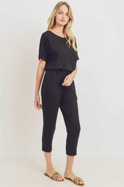 LOOSE FIT SHORT SLEEVE OPEN BACK JUMPSUIT