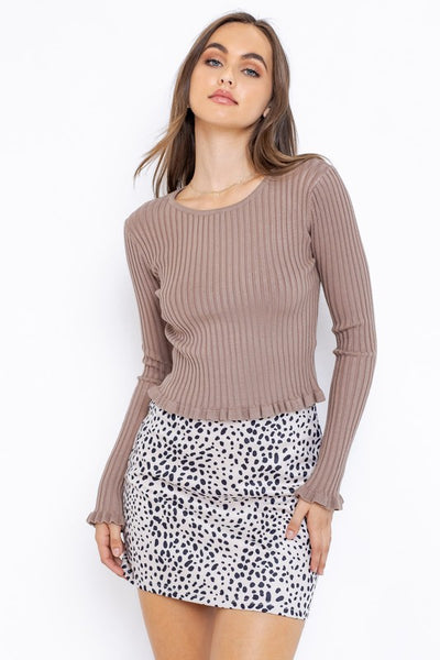 LONGSLEEVE RUFFLED KNIT TOP - MOCHA