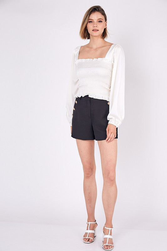 SQUARE NECK SMOCKED TOP - CREAMY WHITE