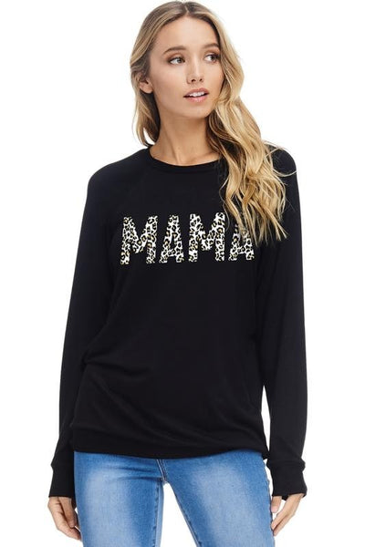 MAMA LEOPARD SWEATER - BLACK