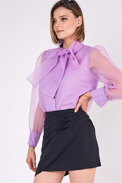 BUTTON DOWN NECK TIE BOW TOP - ORCHID