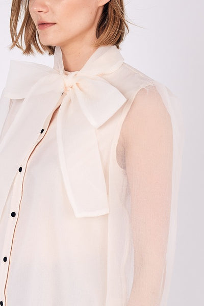 BUTTON DOWN NECK TIE BOW TOP - IVORY