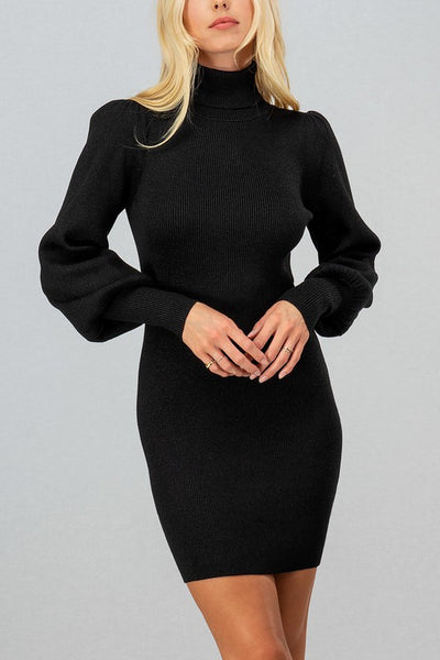 METALLIC THREAD RIB KNIT TURTLE PUFF SLEEVE DRESS - BLACK