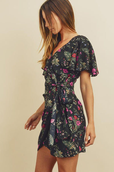 FLORAL WRAP BUTTERFLY SLEEVE DRESS