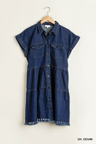 BUTTON DOWN COLLARED FRAYED HEM RUFFLE TIER DRESS