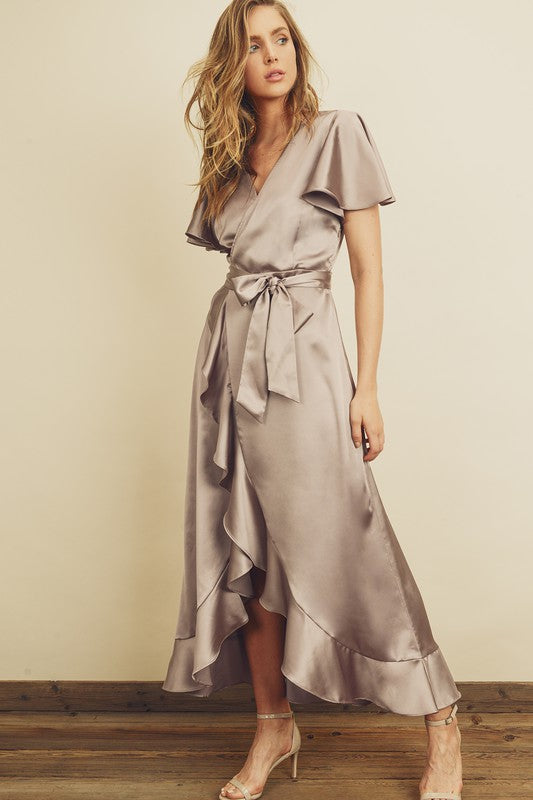SATIN RUFFLED WRAP DRESS