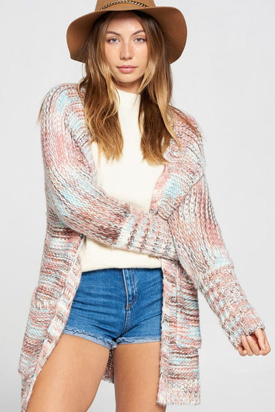 MULTI COLOR CHORD PATTERN CARDIGAN