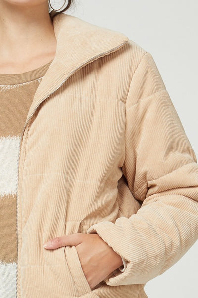 CORDUROY HIGH-COLLARED ZIP-UP PUFFER JACKET
