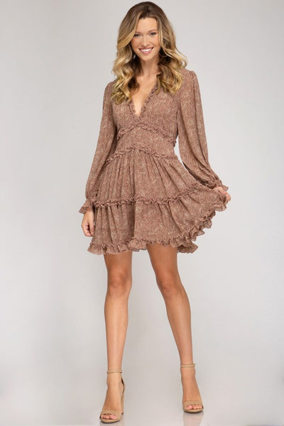 WOVEN TIERED RUFFLE DRESS - ROSE