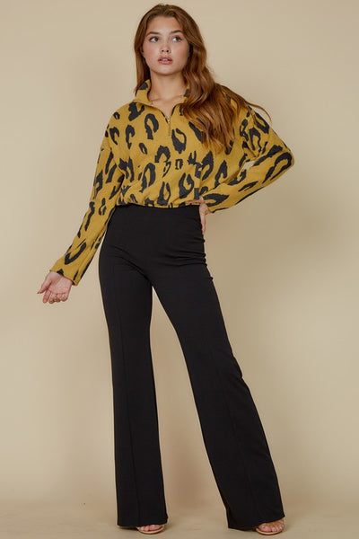 HALF ZIP ANIMAL PRINT SWEATER - MUSTARD