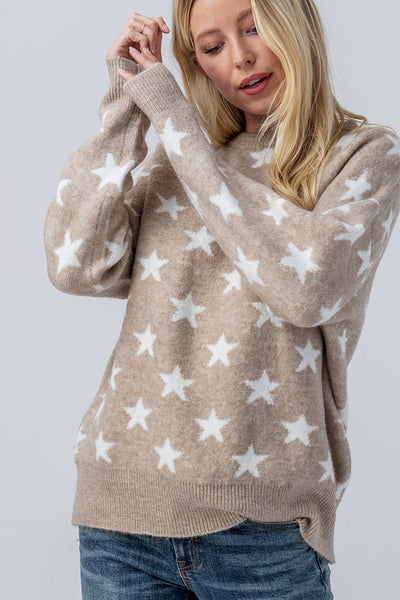 STAR PRINT DROP SHOULDER SWEATER
