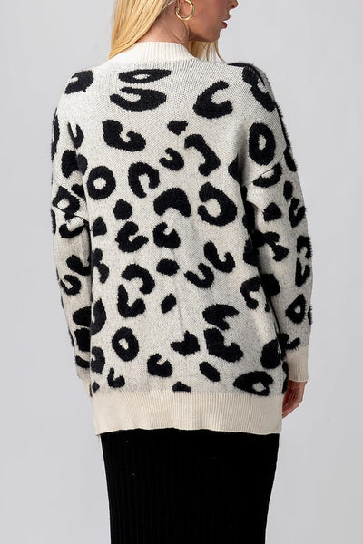 LEOPARD KNIT BUTTON CARDIGAN - IVORY