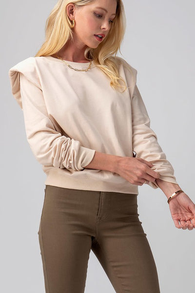 PADDED SHOULDER TOP - IVORY