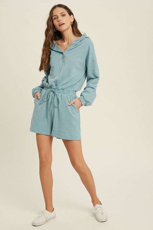FRENCH TERRY HOODIE ROMPER - MINT BLUE