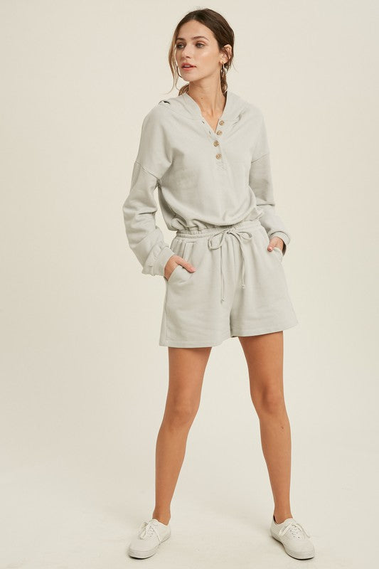 FRENCH TERRY HOODIE ROMPER - CLOUD