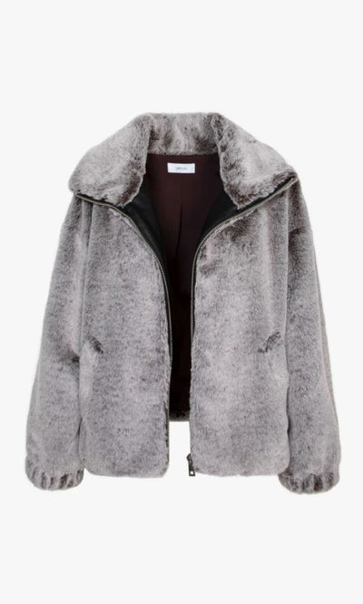 LUCAS COZY FAUX FUR BOMBER ZIP-UP JACKET