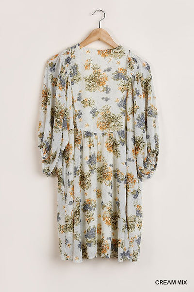 SHEER FLORAL PRINT PUFF SLEEVE DRESS