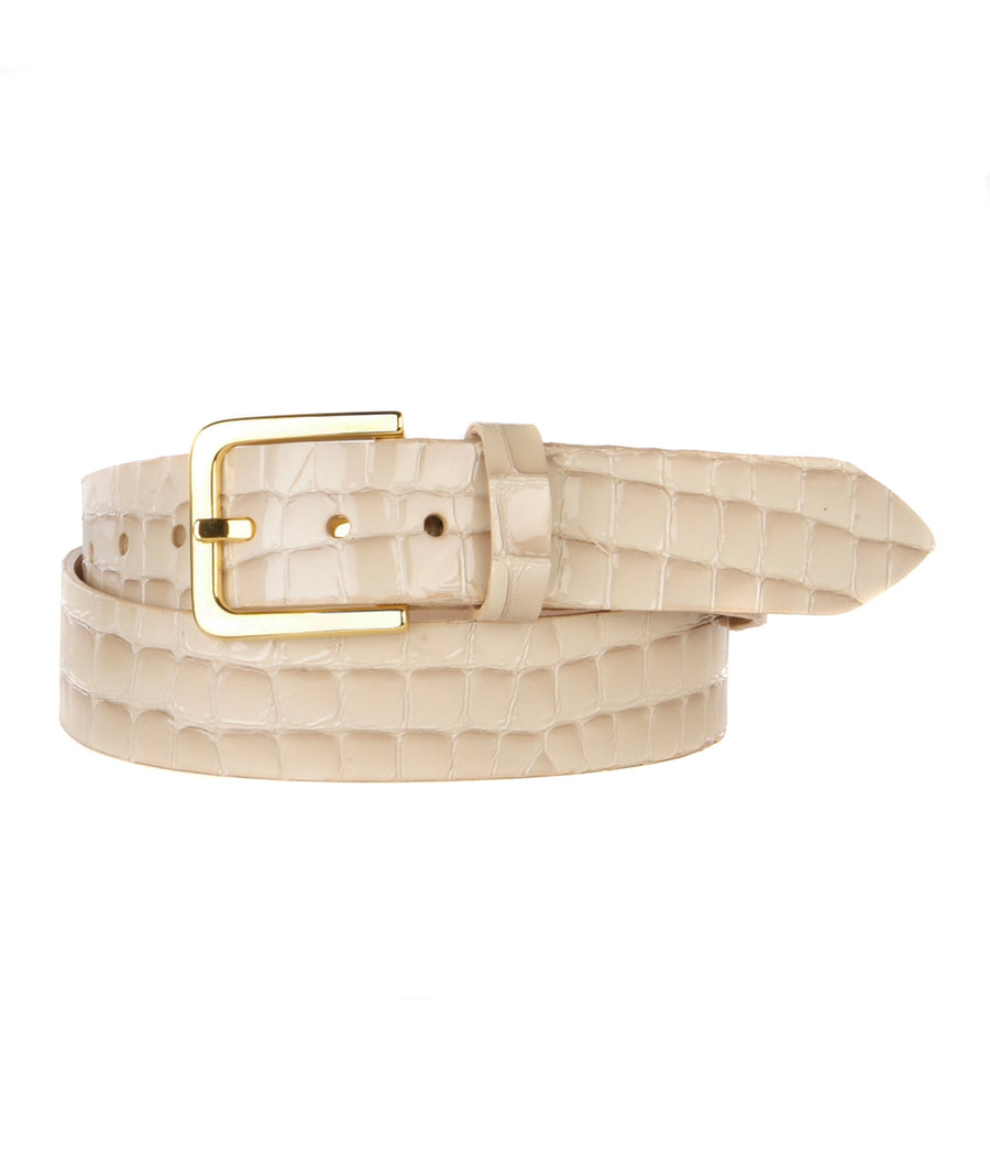 LUMISI PEARL CROC EMBOSSED BELT