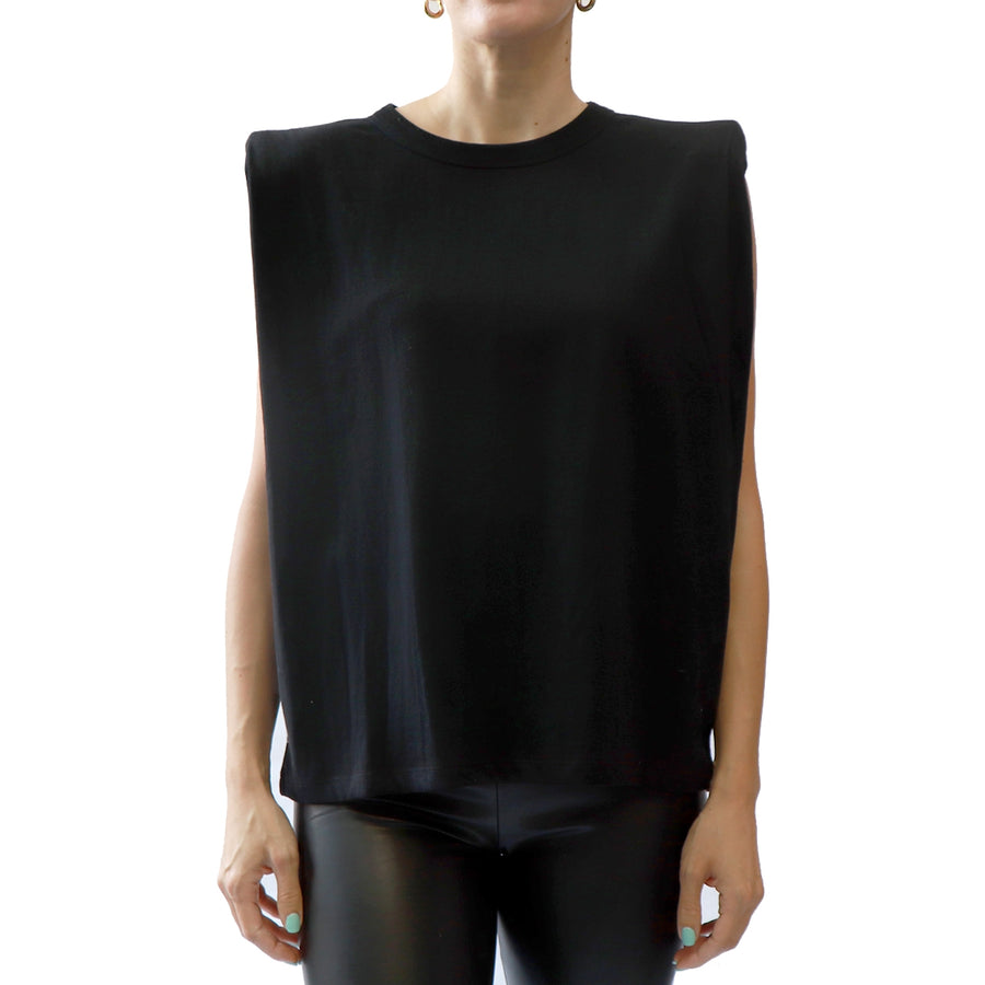 SLEEVELESS EXTENDED SHOULDER PAD TEE - BLACK