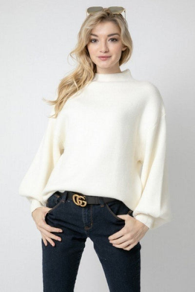 SOLID MOCK NECK SWEATER