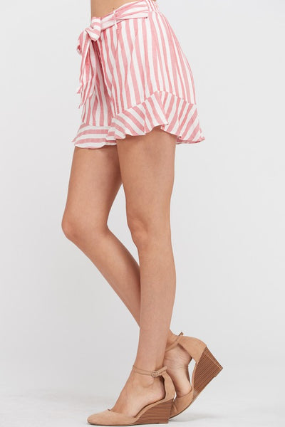 STRIPED BELTED RUFFLE HEM MINI SHORTS - RED