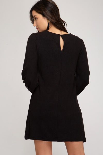 SMOCKED LONG SLEEVE HEAVY KNIT DRESS - BLACK