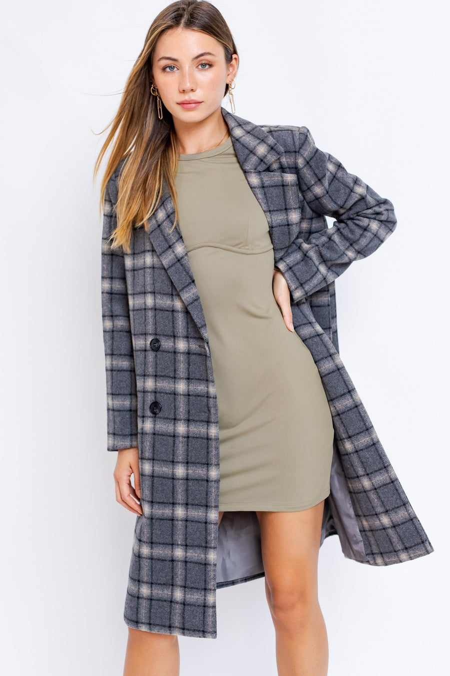 CHARCOAL PLAID JACKET