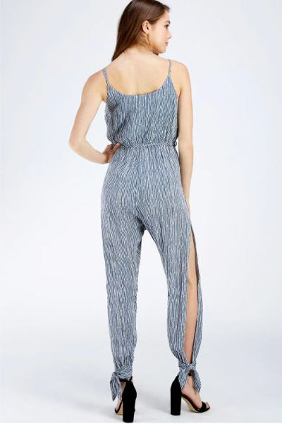STRIPE SURPLICE JUMPSUIT