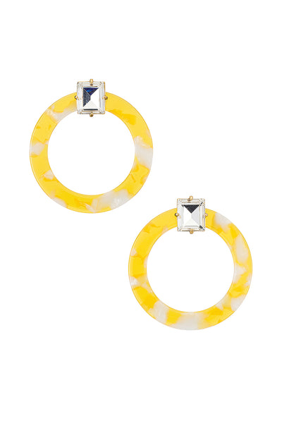 AFTON LUCITE EARRINGS - YELLOW