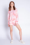 MELTING CRAYONS TIE DYE SWEATER - CORAL
