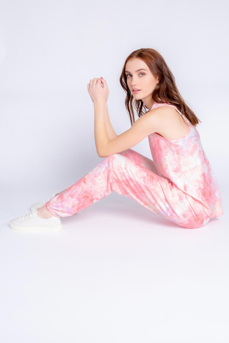 MELTING CRAYONS TIE DYE PANT - CORAL