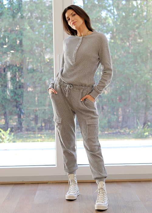 WAFFLE KNIT JUMPSUIT -  GREY