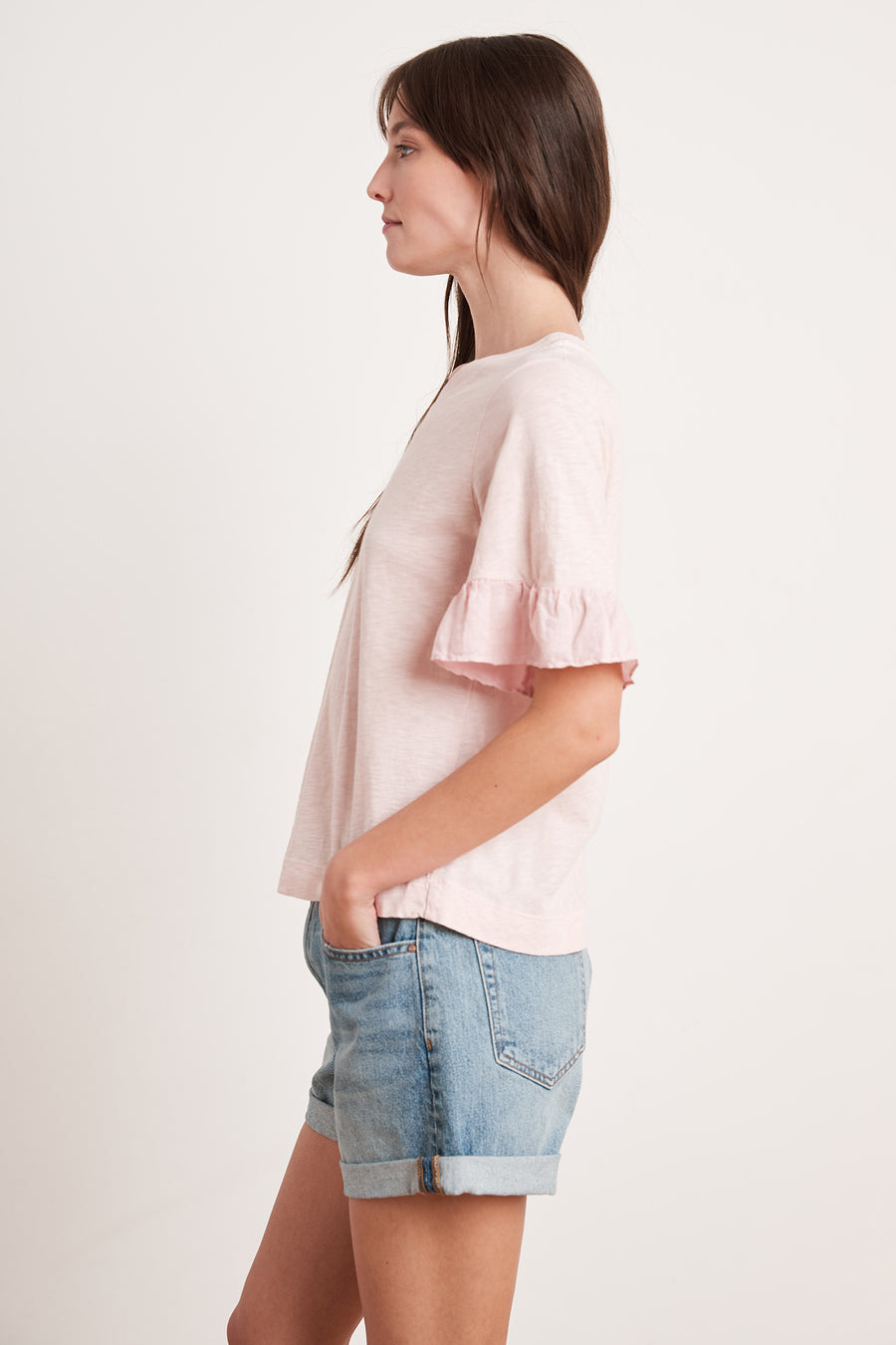 TRUDY - TOP WITH RUFFLE SLEEVE