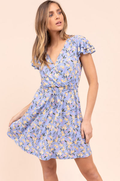 SHORT SLEEVE FLORAL PRINT DRESS