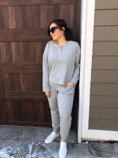 BUTTON UP WAFFLE KNIT SET - HEATHER GREY