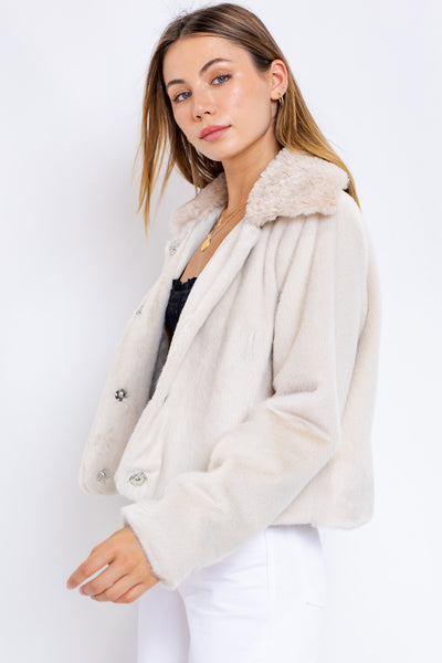 FAUX FUR IVORY CROP JACKET