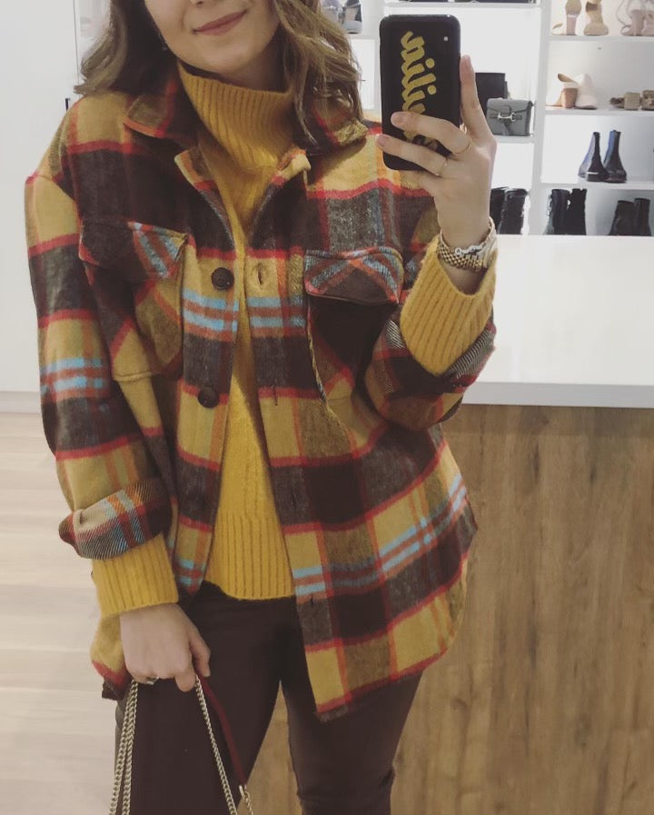 FLANNEL OVERSIZED SHIRT JACKET - BROWN