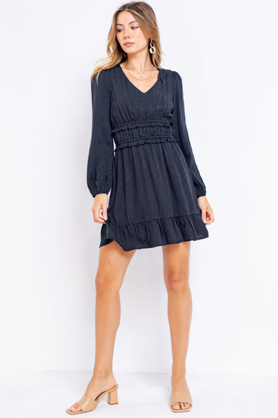 LONG SLEEVE RUFFLE MINI DRESS