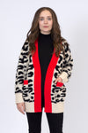LEO - ANIMAL PRINT CARDIGAN WITH CONTRAST RED