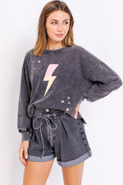 LIGHTENING BOLT GRAPHIC SWEATER