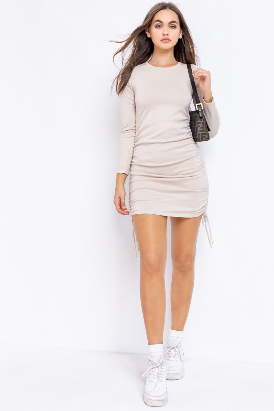 LONG SLEEVE ROUND-NECK SIDE RUCHING DETAIL KINT DRESS - TAUPE