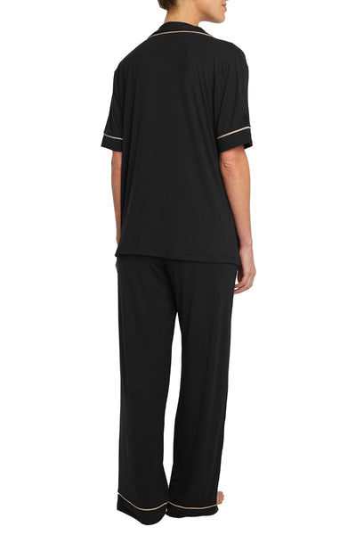 GISELE SHORT SLEEVE WITH PANTS SET - BLACK WITH SORBET PIPING