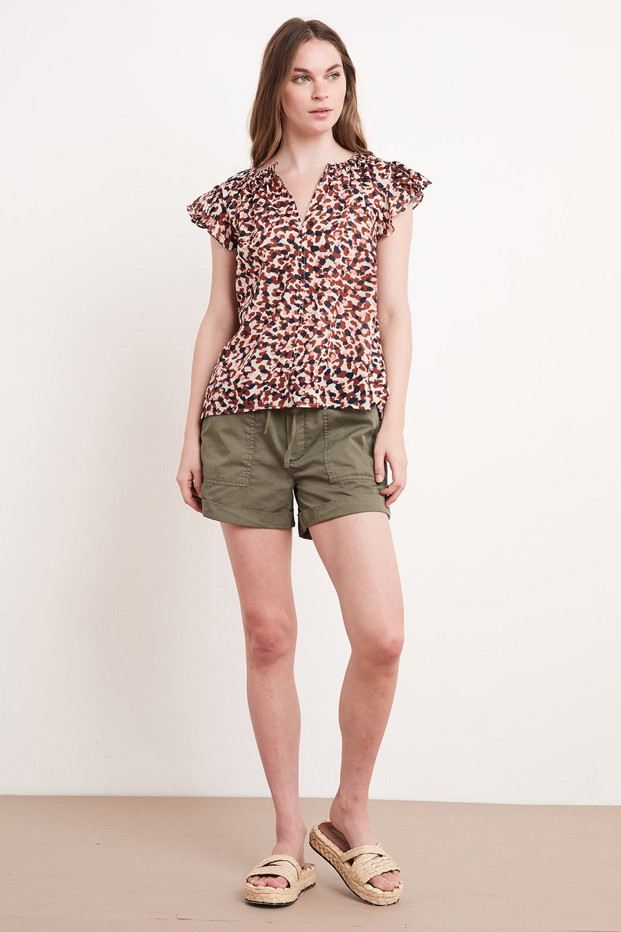 YUELLE - PRINTED COTTON VOILE CAP SLEEVE