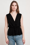 ADALI - RAYON CHALLIS V NECK SLEEVELESS TOP