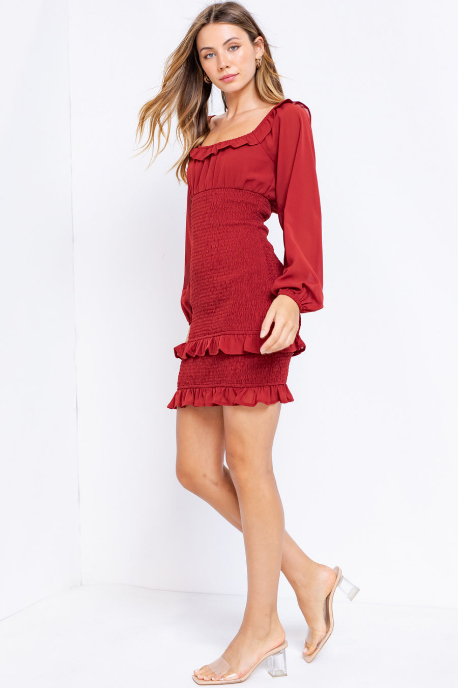 LONG SLEEVE SMOCKING DRESS