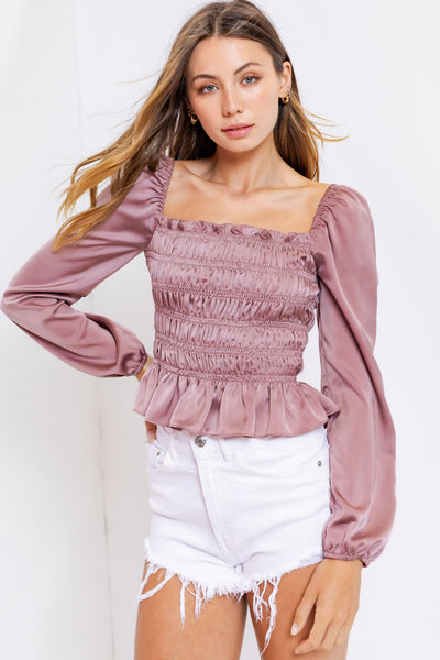 PUFF SLEEVE SQUARE NECK SHIRRING TOP - MUAVE