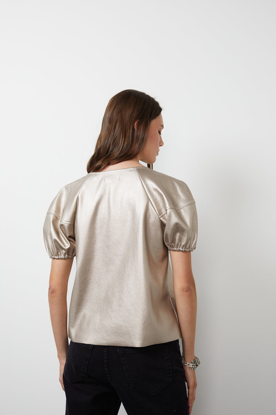 FOLEY VEGAN LEATHER BLOUSE