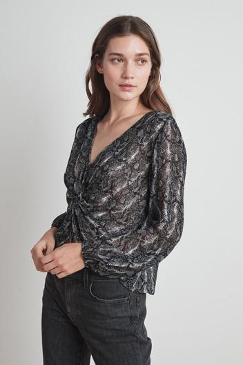 SNAKE PRINT TWIST FRONT TOP